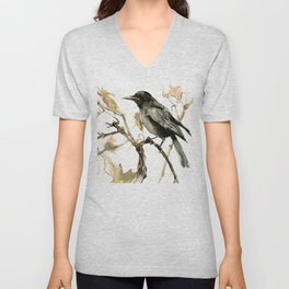 Crow in the Fall, Tribal Crow Raven art Unisex V-Neck