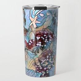 Star Galaxy Teal Purple Brown Mandala watercolor by CheyAnne Sexton Travel Mug