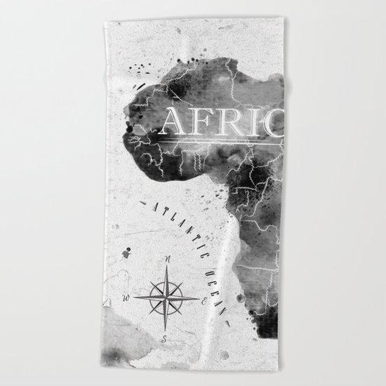 Black Africa Map Beach Towel