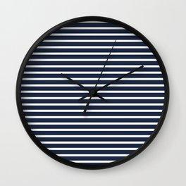 Nautical Navy and White Horizontal Stripes Wall Clock