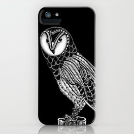 Tangled Barn Owl on Black iPhone Case