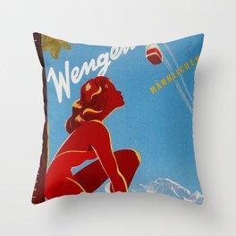 Wengen Switzerland - Vintage Travel Throw Pillow
