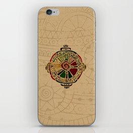 Colorful Hunab Ku Mayan symbol on cotton iPhone Skin