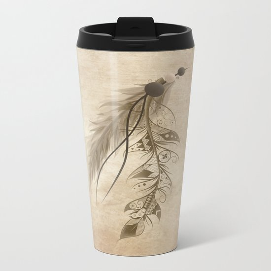 Bohemian Feather Metal Travel Mug