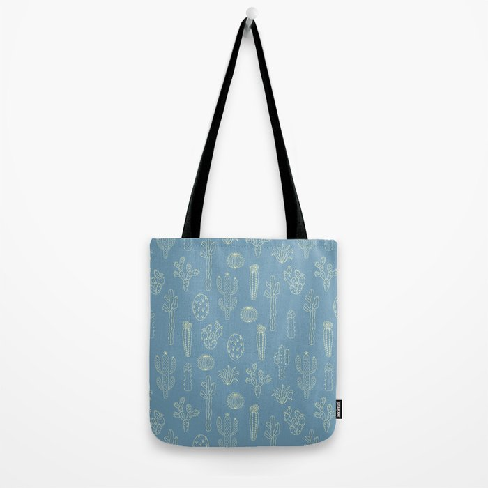 Cactus Silhouette Blue Tote Bag