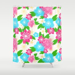 04 Pattern of Watercolor Flowers Shower Curtain