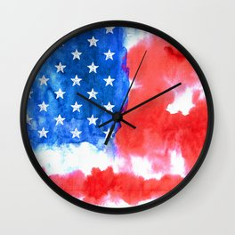 Watercolor flag of America Wall Clock