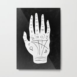 Palm Reading Chart - White on Black Metal Print