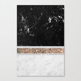 Black and White Marble Gold Glitter Stripe Glam #1 #minimal #decor #art #society6 Canvas Print