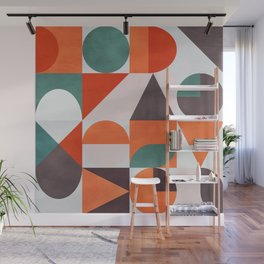 mid century fall winter bold colors Wall Mural