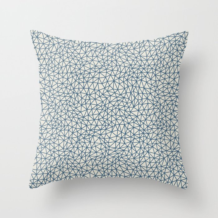 Blue Abstract Triangle Shape Pattern on Linen White - 2020 Color of the Year Chinese Porcelain Throw Pillow