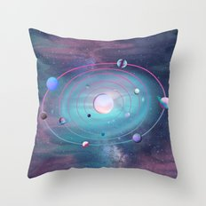 Pastel Solar System Throw Pillow