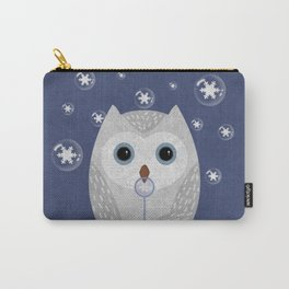 Christmas Owl Blue Marble Carry-All Pouch