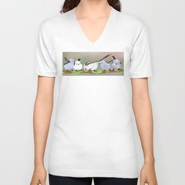 Long-tailed tits on a branch Unisex V-Neck