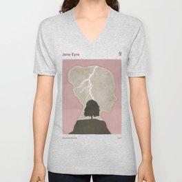 Charlotte Brontë Jane Eyre - Minimalist literary design Unisex V-Neck