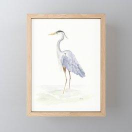 Heron Facing Left Framed Mini Art Print