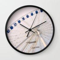 ferris wheel Wall Clocks featuring Ferris Wheel by Pati Designs