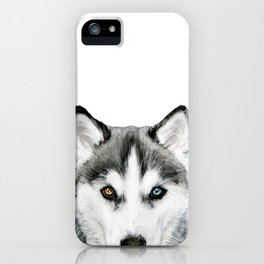 Siberian Husky dog with two eye color Dog illustration original painting print iPhone Case