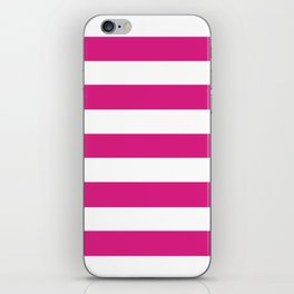 Vivid cerise - solid color - white stripes pattern iPhone Skin