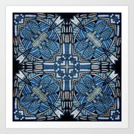 blue symmetric fantasy pattern II Art Print
