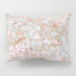 Mint Blush & Rose Gold Metallic Marble Texture Pillow Sham