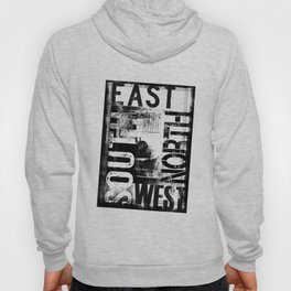 East South North West Black White Grunge Typography Hoody