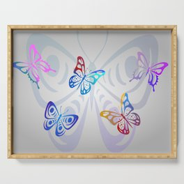 Big Butterflies with grey background Serving Tray