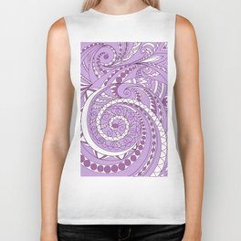 zen tangled swirl pattern 1 on the violet Biker Tank