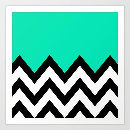TEAL COLORBLOCK CHEVRON Art Print