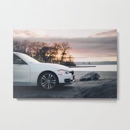 White Sports Car at the Beach (3 of 3) Metal Print