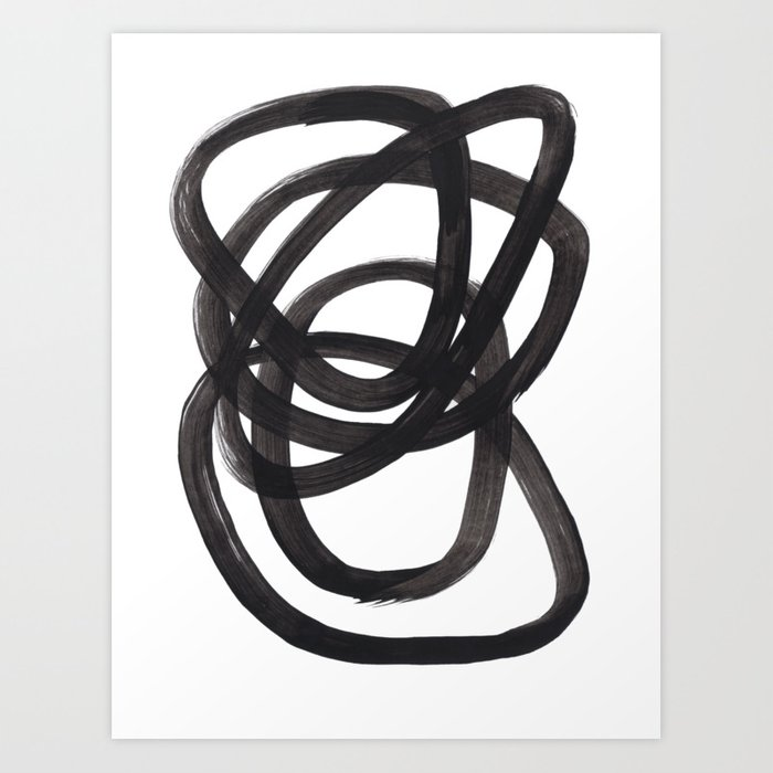 Black And White Minimalist Mid Century Abstract Ink Art Circle Swirls Black Circles Minimal Kunstdrucke