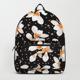 White And Orange Flowers On Black Backpack