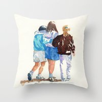 best friends Throw Pillows featuring Best Friends by MadDog