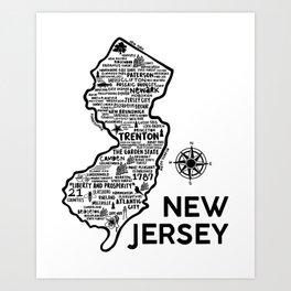 New Jersey Map  Art Print