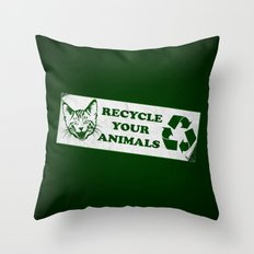 Recycle your animals - Fight club Throw Pillow