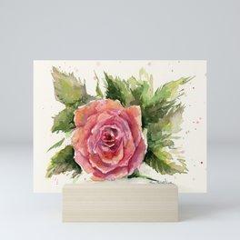 Red Rose Watercolor Pink Rose Flower Floral Art Mini Art Print