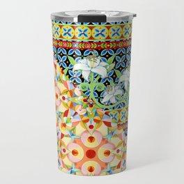 Tangerine Confetti Lilies Travel Mug