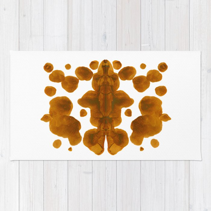 Brown Ocher Inkblot Pattern Rug