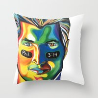 tim shumate Throw Pillows featuring Tim Tebow by Kelsey Gilman7