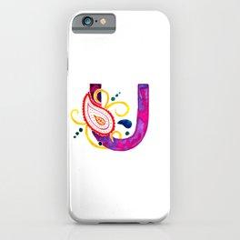 Paisley monogram letter U iPhone Case
