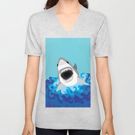 Great White Shark Attack Unisex V-Neck