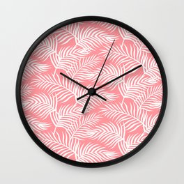 Palm Leaves_Pink Wall Clock