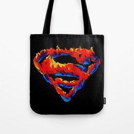 Superman in Flames Tote Bag