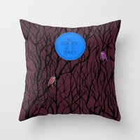 pixies Throw Pillows featuring All Good Deer go to Heaven by Cocorrina