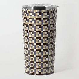 leigh - tan beige black ivory indigo geometric mosaic pattern Travel Mug