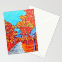Twilight Woods (ORIGINAL ACRYLIC PAINTING) by Mike Kraus- forest trees nature environment red orange Stationery Cards