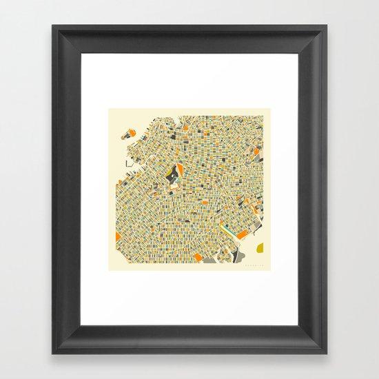 Brooklyn Map Framed Art Print