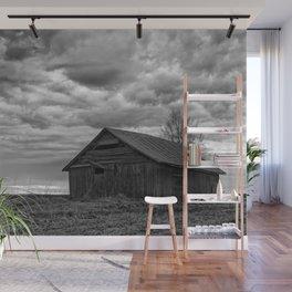 Finland Farm (Black and White) Wall Mural