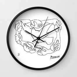 Pablo Picasso Peace And Freedom Dove Artwork T Shirt, Reproduction Sketch Wall Clock