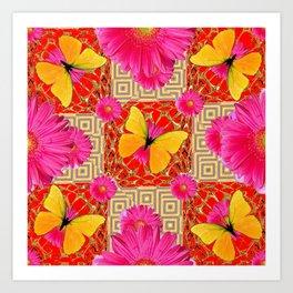 Red Art Design of Butterflies Fuchsia Gerbera Flower  Patterns Art Art Print